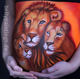 Bellypainting Lion family