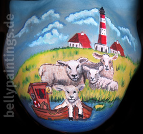 Bellypainting Sheep