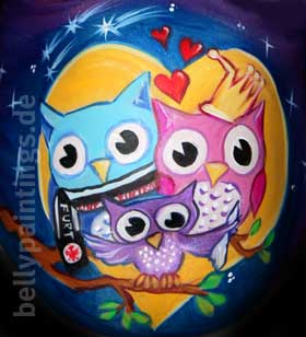 Bellypainting owl family