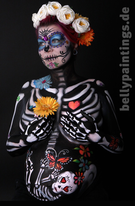 "Bellypainting and Partial Bodypainting ""Sugar skull"""